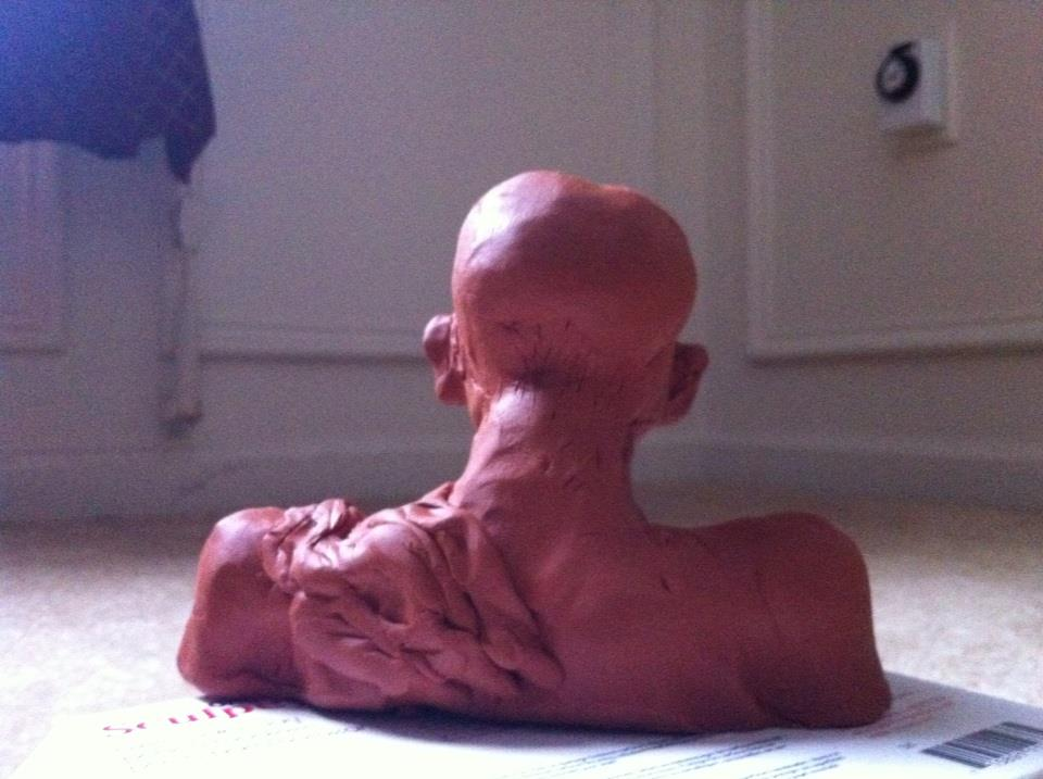 "Gandhi: rear view | Plado sculpture, 5""x4""x3""; sculpted and oven baked. Cleveland, OH, 30 Dec 2012"