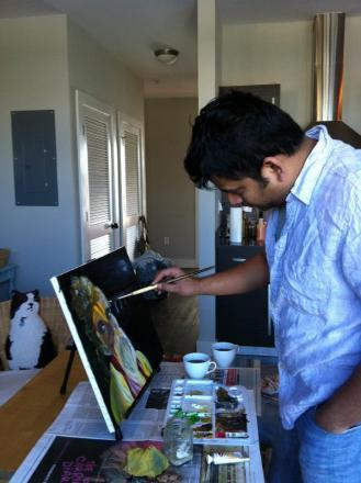"Painting""The Content Sadhu"" | Oil on canvas, Jan 22, 2013, Atlanta, GA, USA"