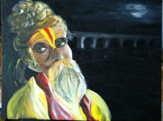 """The Content Sadhu"" | Oil on Canvas, 18 Jan, 2013, Atlanta GA, USA"