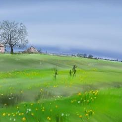 St. Gallen Country Side in Spring | Procreate on iPad